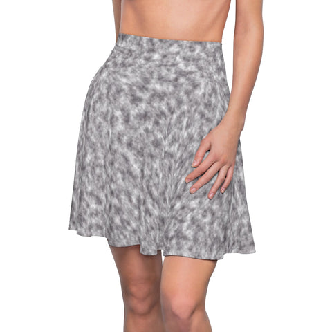 Gray and White Clouds Skater Skirt