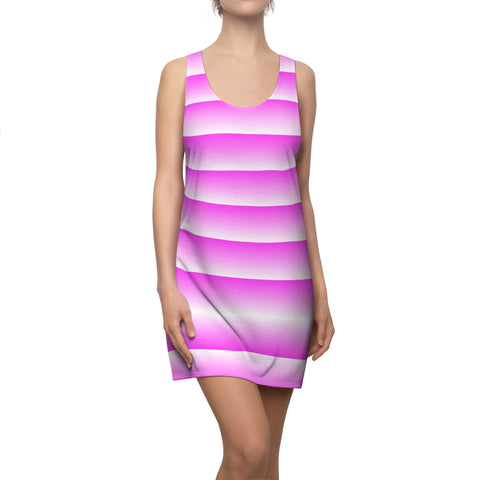 Pink and White Linear Pink Back Racerback Dress