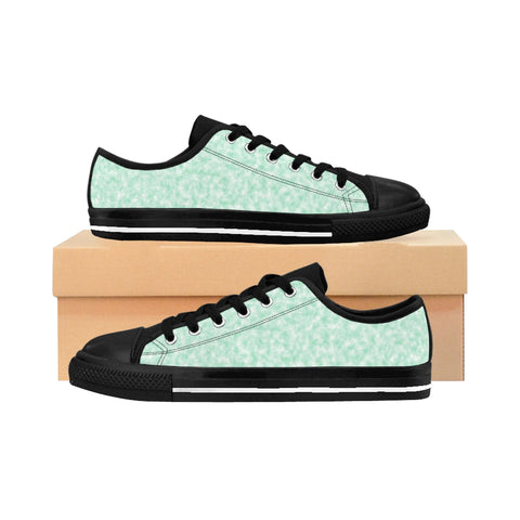 Seafoam Green and White Clouds Women's Sneakers