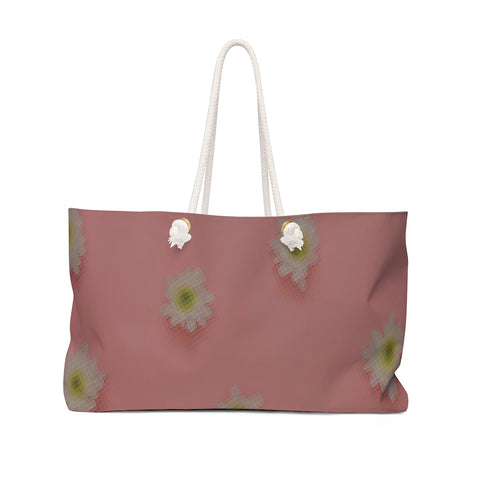 White Flowers on Pink Weekender Bag
