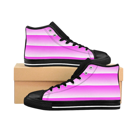 Pink and White Linear Women's High-top Sneakers