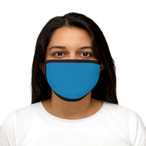 Solid Turquoise Mixed-Fabric Face Mask