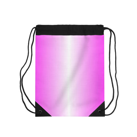 Pink and White Vertical Drawstring Bag