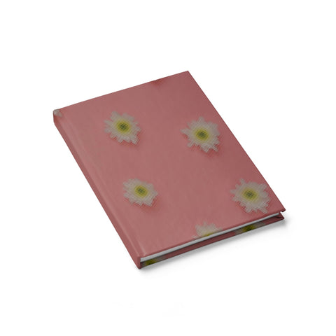 White Flowers on Pink Journal - Ruled Line