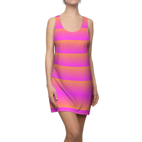 Pink and Orange Linear Orange Back Racerback Dress