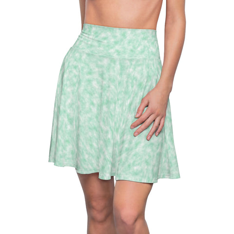 Seafoam Green and White Clouds Skater Skirt
