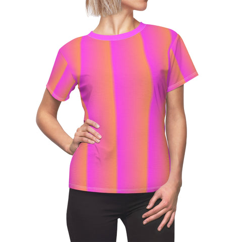 Pink and Orange Vertical with Pink Collar Women's Tee