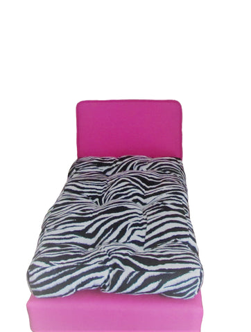 Dark Pink Doll Bed and Zebra print Doll Mattress for 18 inch doll