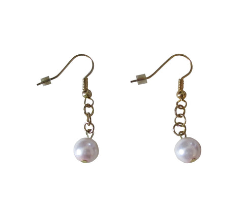 Single Light Pink Pearl Glass Bead Dangle Earrings