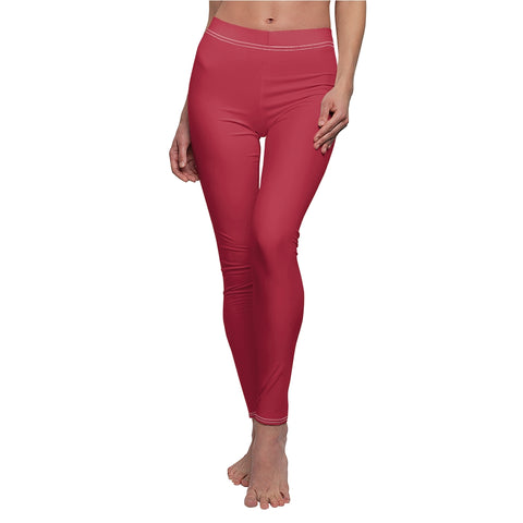 Solid Red Casual Leggings