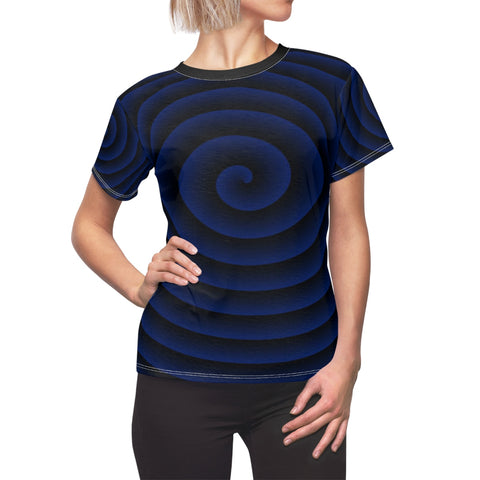 Blue Spiral with Black Collar Women's Tee