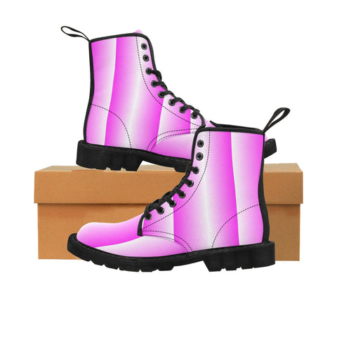 Pink and White Vertical Boots