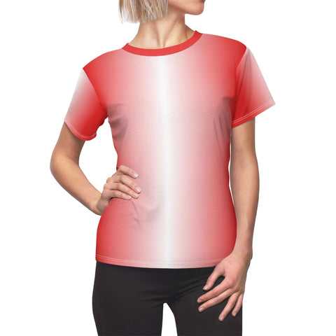White and Red LineaR Women's Tee