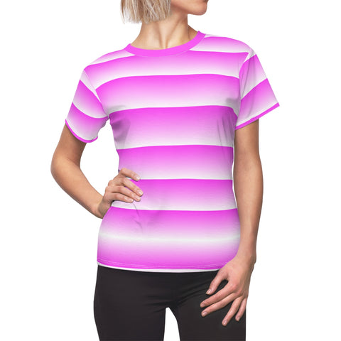 Pink and White Linear Women's Tee