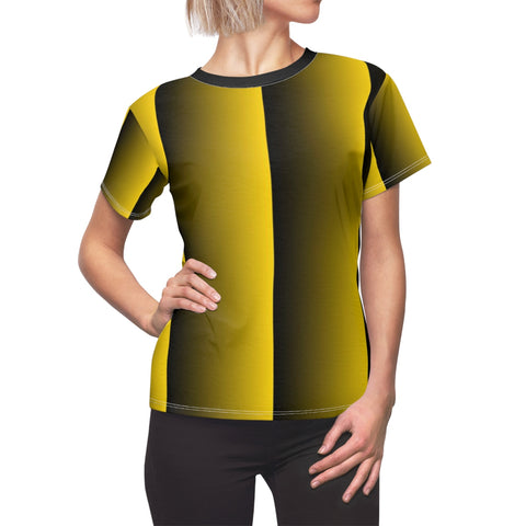 Gold and Black Vertical with Black Collar Women's Tee