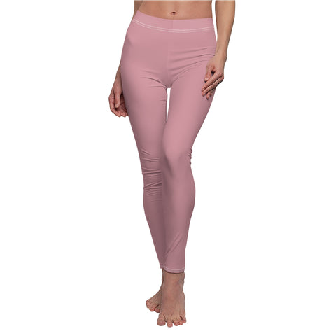 Solid Light Pink Casual Leggings