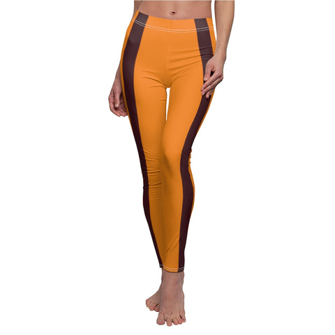 Tangerine Chocolate Brown Stripe Casual Leggings