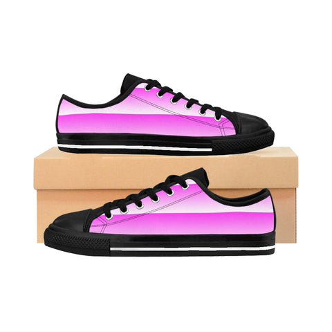 Pink and White Linear Women's Sneakers