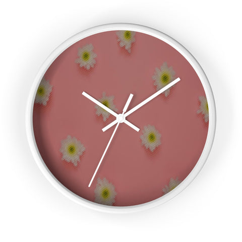 White Flowers on Pink Wall Clock