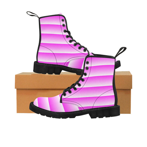 White and Pink Linear Boots