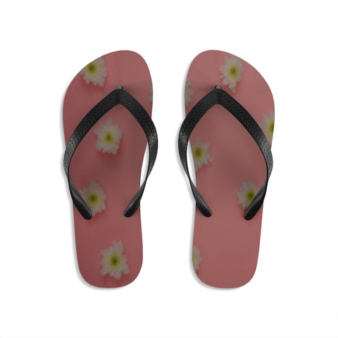 White Flowers on Pink Unisex Flip-Flops