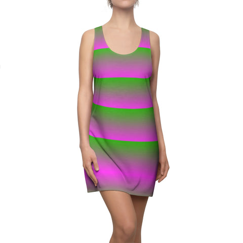 Pink and Green Linear Pink Back Racerback Dress