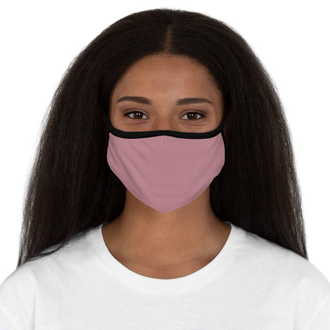 Solid Light Pink Fitted Polyester Face Mask