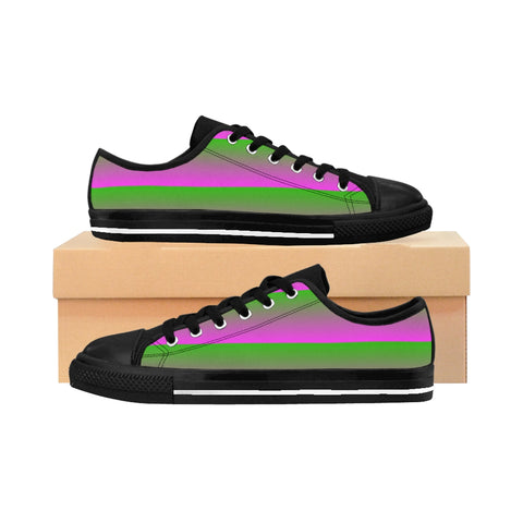 Pink and Green Linear Women's Sneakers