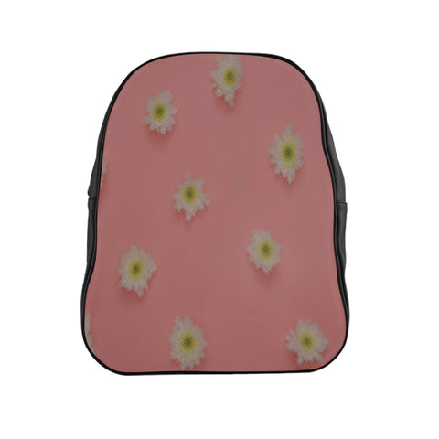 White Flowers on Pink Backpack
