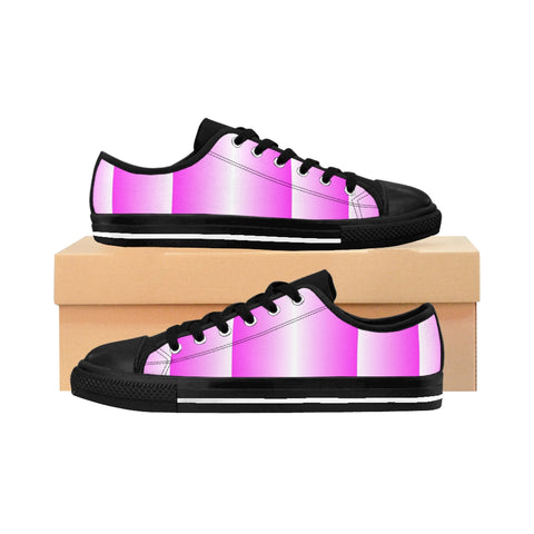 Pink and White Vertical Women's Sneakers