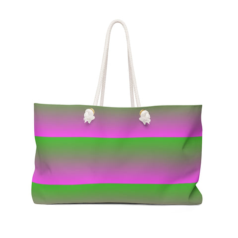 Pink and Green Linear Weekender Bag