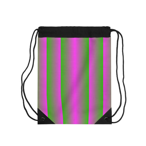 Pink and Green Vertical Drawstring Bag
