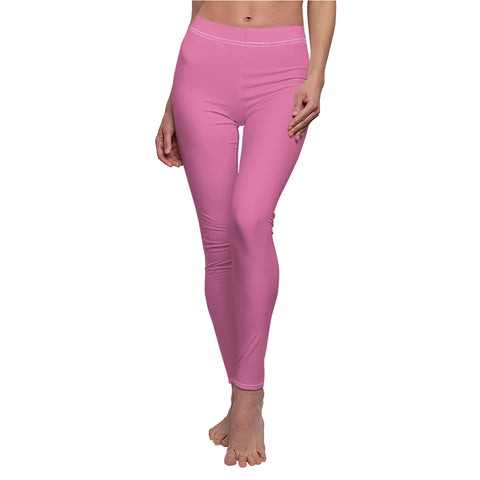 Solid Hot Pink Casual Leggings