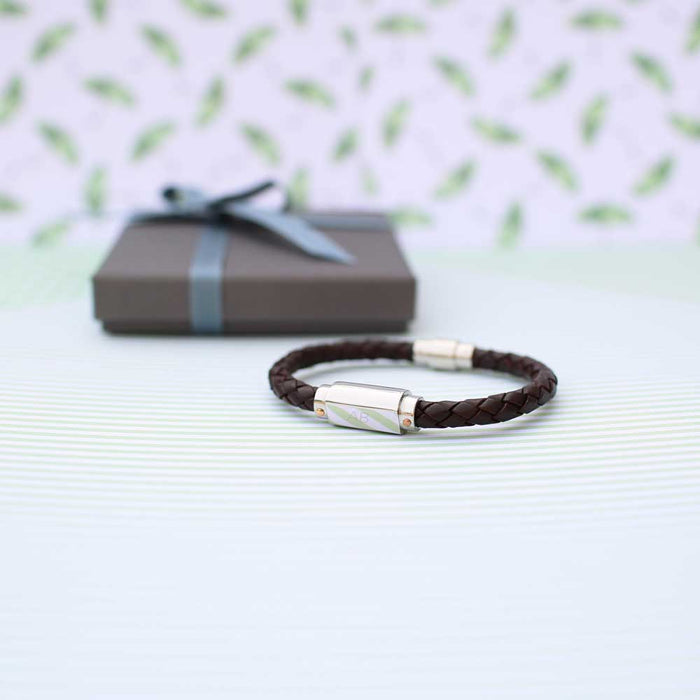 Personalised Woven Men's Leather Bracelet