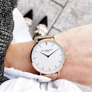 Own Handwriting Engraved Elie Beaumont Ladies Watch Rose Gold White Dial