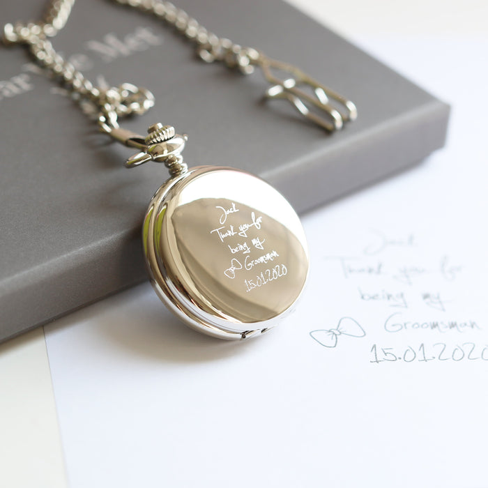 Handwriting Engraved Roman Skeleton Pocket Watch