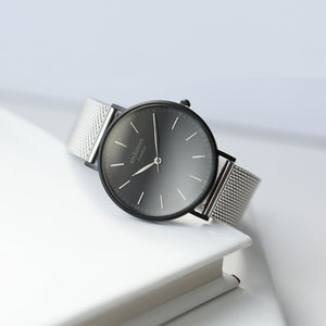 Handwriting Engraving - Men's Minimalist Watch + Steel Silver Mesh Strap