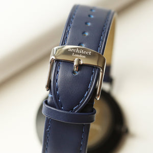 Handwriting Engraving - Men's Architect Zephyr + Admiral Blue Strap