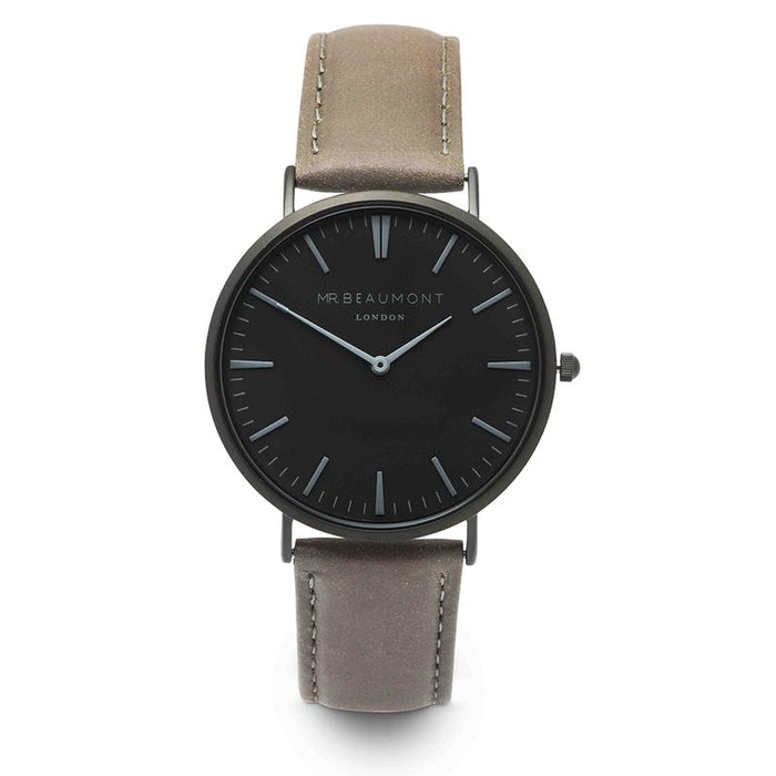 Mr Beaumont Grey Black Face Watch With Personalised Engraving