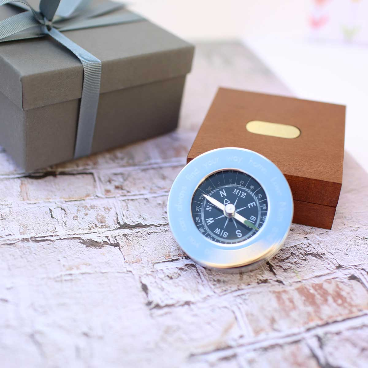 Personalised Chrome Compass and Presentation Tin ENGRAVED FREE