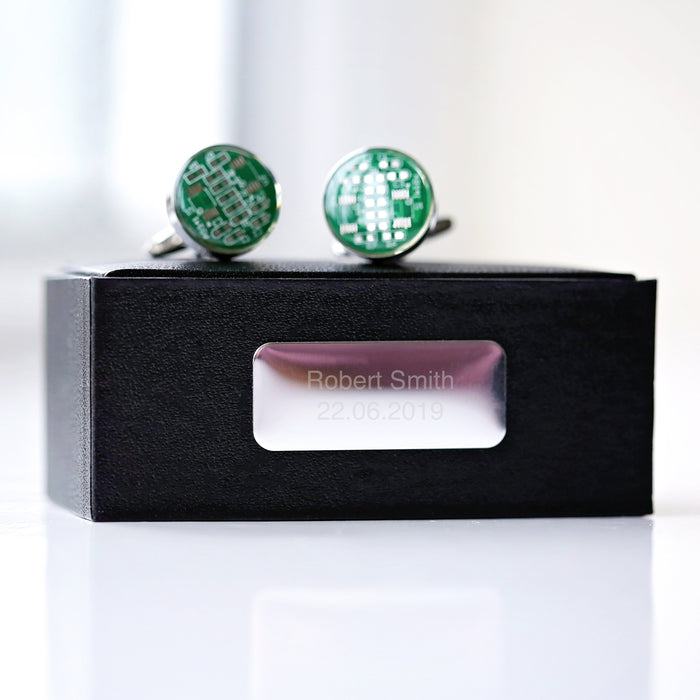 Real Circuit board Cufflinks + Engraved Box