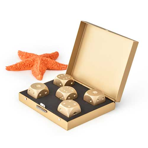 Luxury Aluminium Dice Set gold