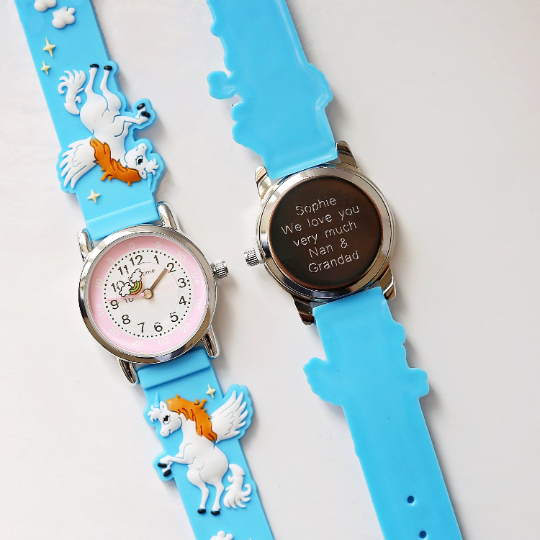 Engraved Kids 3D Unicorn Watch - Light Blue
