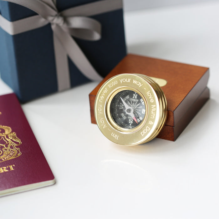 Compass Personalised with Timber Box