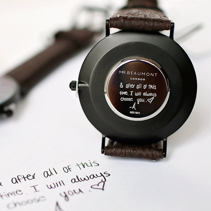 Own Handwriting Mr Beaumont Vegan Watch Black Face