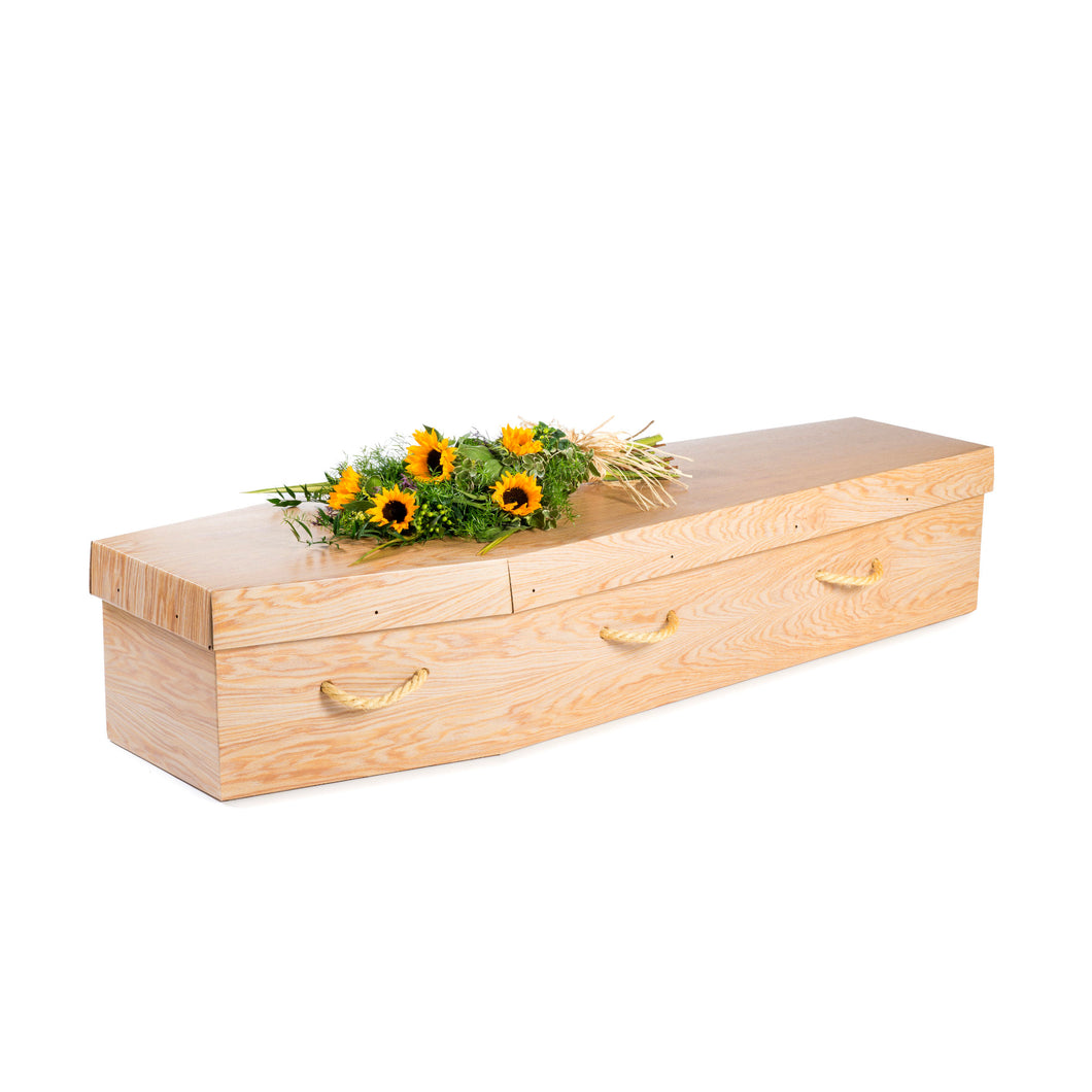 Woodgrain Cardboard Coffin - Free UK mainland delivery thinkwillow.com