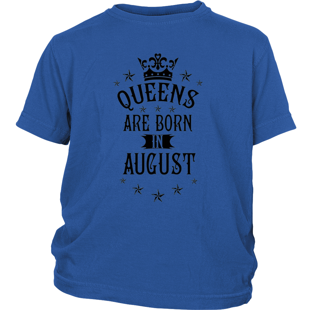 Womens Queen Are Born In August Black Funny T-shirt
