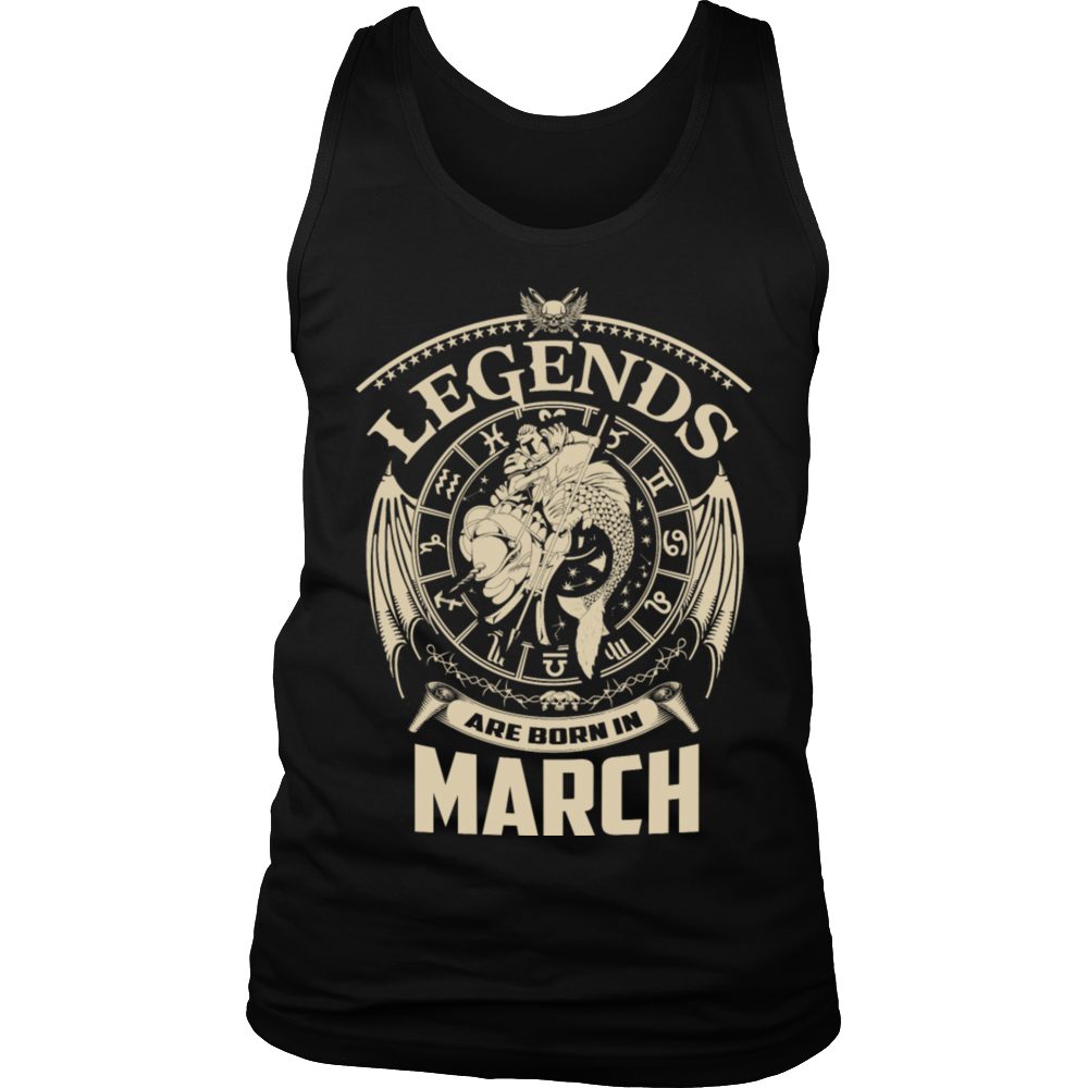 Legends Are Born In March T-shirt - Birthday TShirt