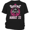 Queens Are Born On August 22 Birthday T-shirt Gift