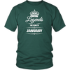 MEN'S LEGENDS ARE BORN IN JANUARY BIRTHDAY NOVELTY T-SHIRT